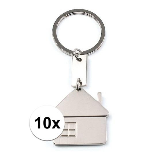 10x huis sleutelhangers 3 5 cm