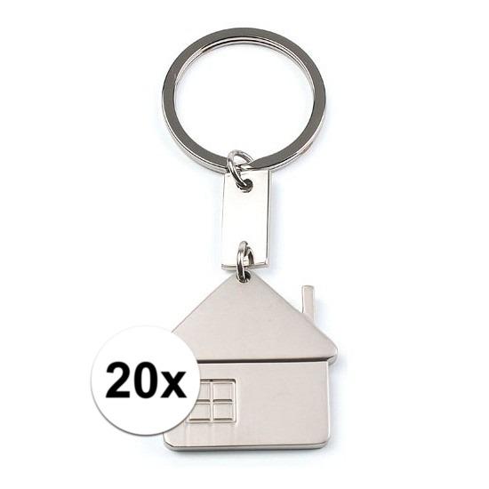 20x huis sleutelhangers 3 5 cm