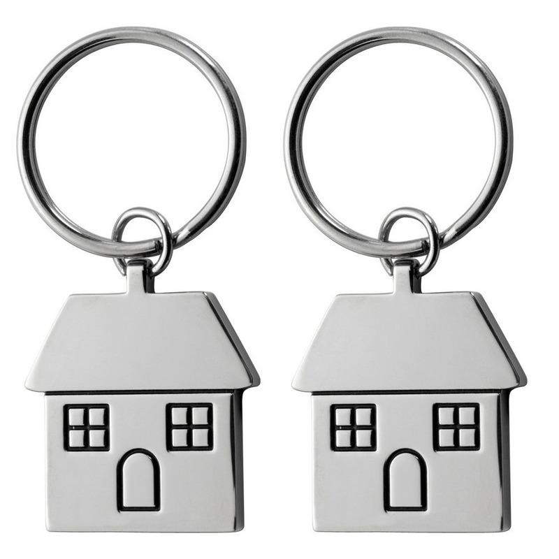 2x huis sleutelhanger 7 cm