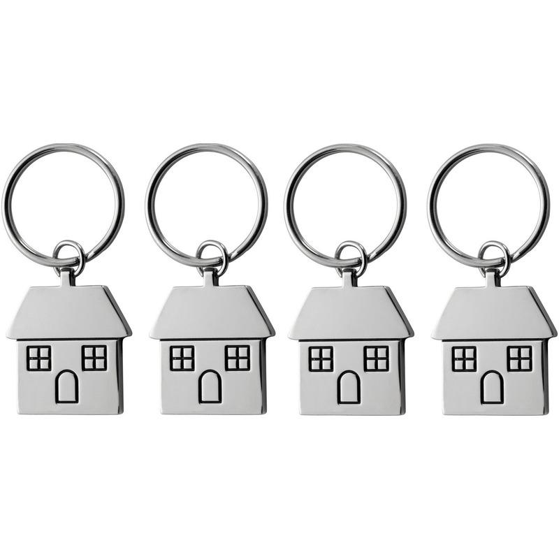 4x huis sleutelhanger 7 cm