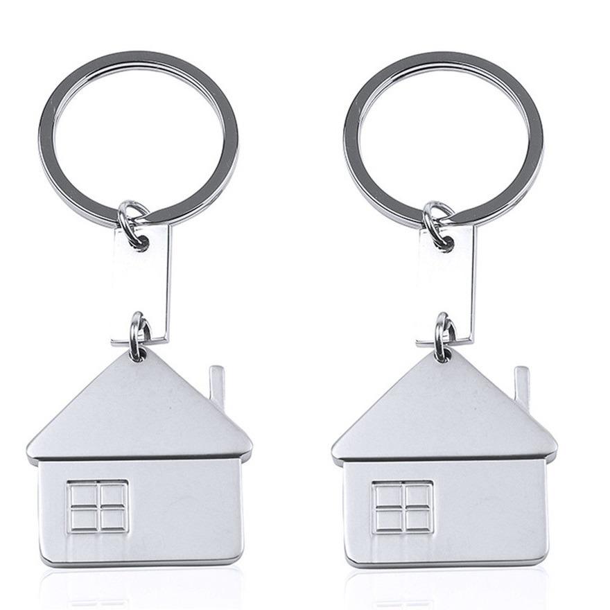 4x huis sleutelhangers 3,5 cm